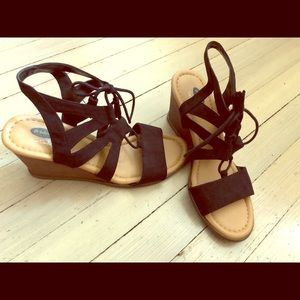 Sexy Lace Up Wedge Sandals Size 9